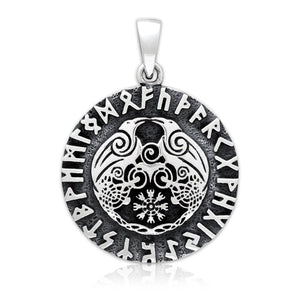 925 Sterling Silver Viking Huginn and Muninn Raven Helm of Awe Runes Pendant - SilverMania925