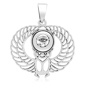 925 Sterling Silver Eye of Horus Winged Pendant with Scarab