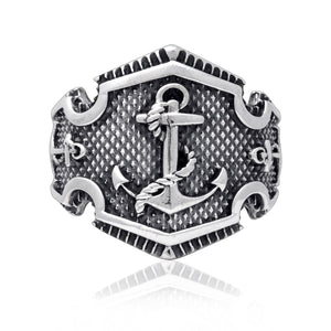 925 Sterling Silver Anchor Nautical Rope Ship Signet Ring - SilverMania925