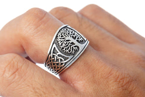 925 Sterling Silver Viking Yggdrasil with Celtic Knotwork Ring