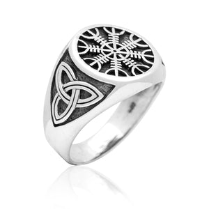 925 Sterling Silver Viking Helm Of Awe Aegishjalmur Celtic Triquetra Knot Ring - SilverMania925