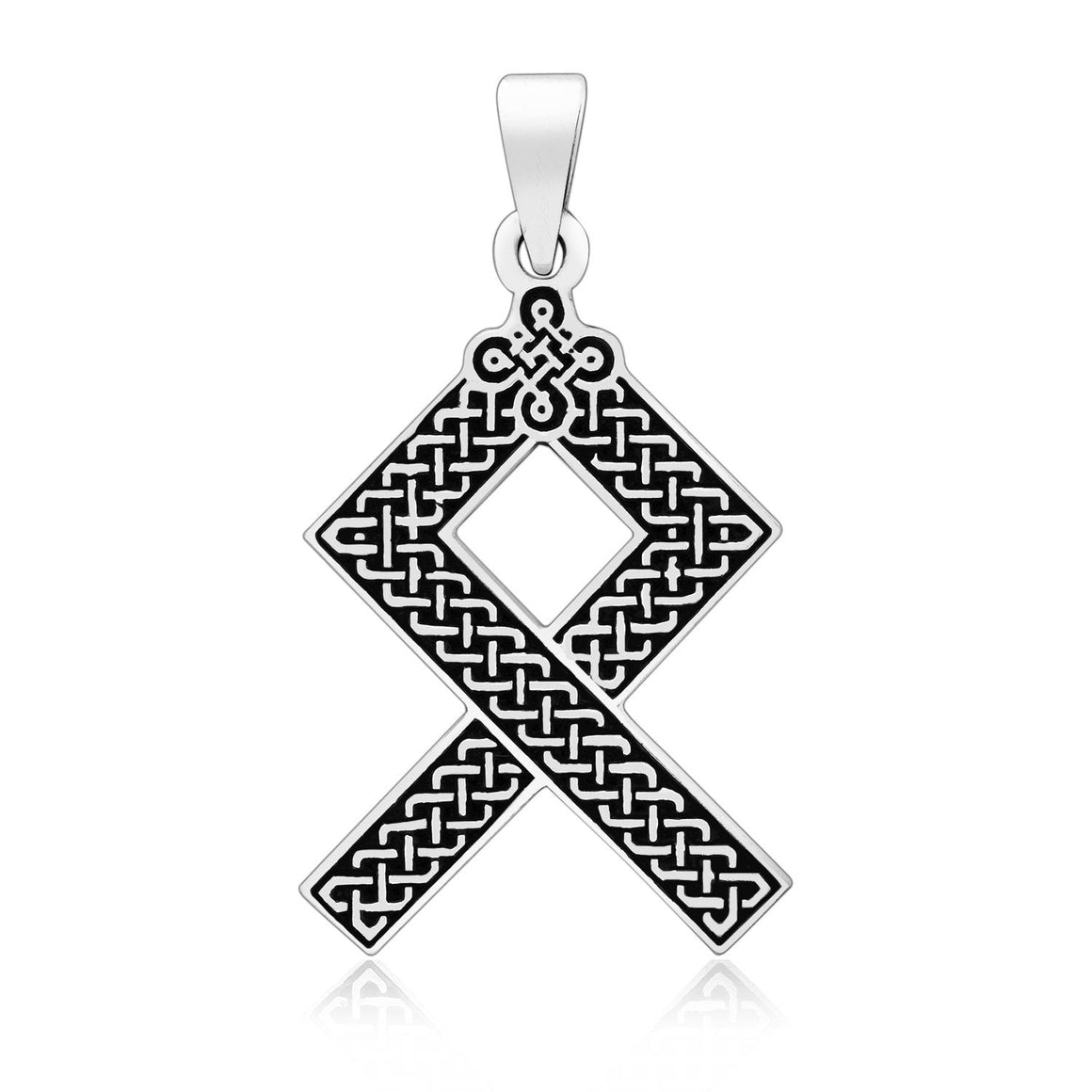 925 Sterling Silver Viking Othala Rune with Pagan Knotwork Pendant