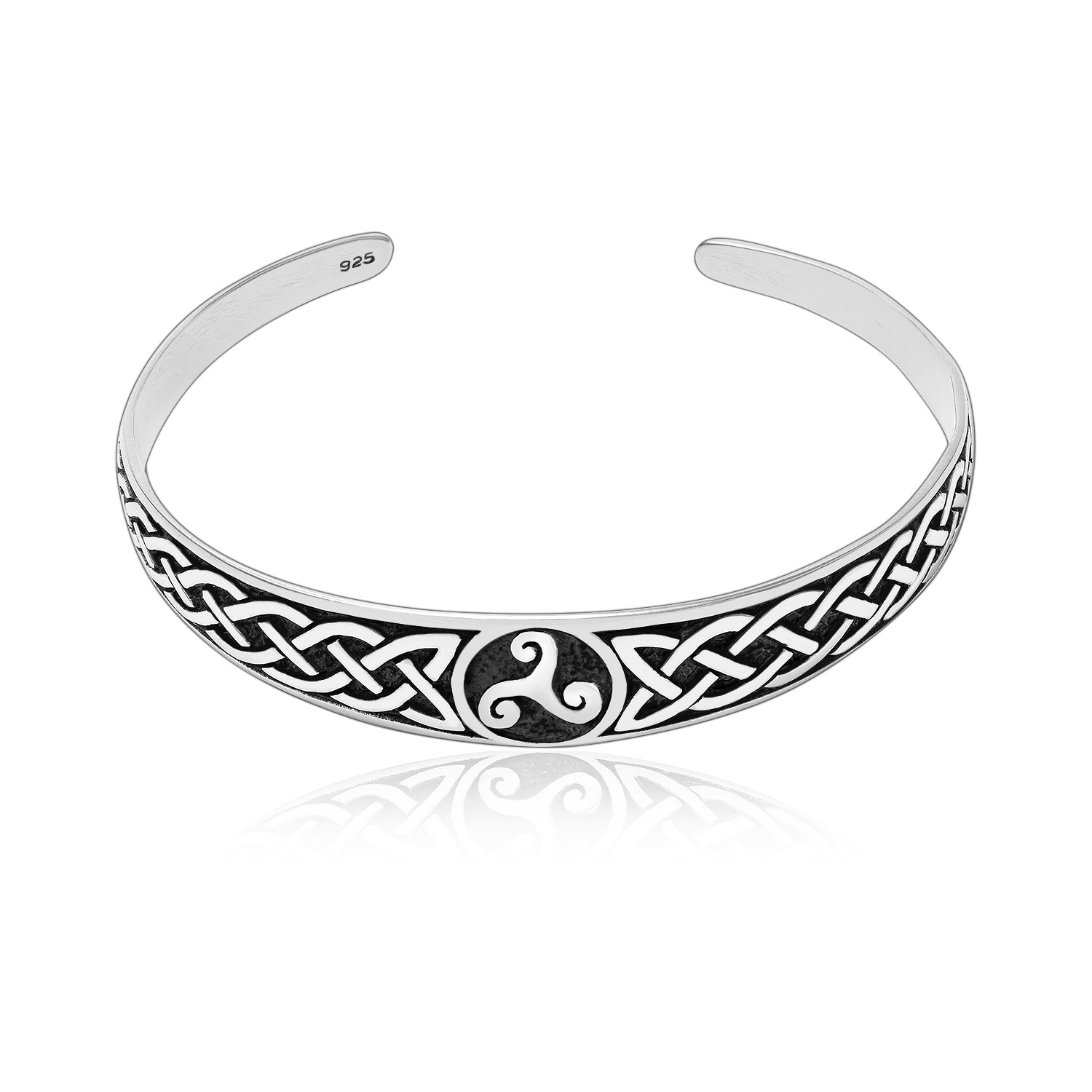 925 Sterling Silver Celtic Triskelion with Infinity Knots Bangle