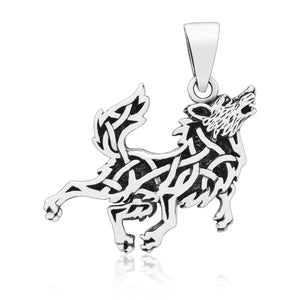 925 Sterling Silver Viking Wolf with Pagan Knotwork Amulet Pendant