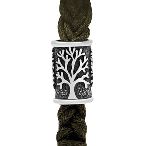 925 Sterling Silver Beard Bead with Viking Yggdrasil