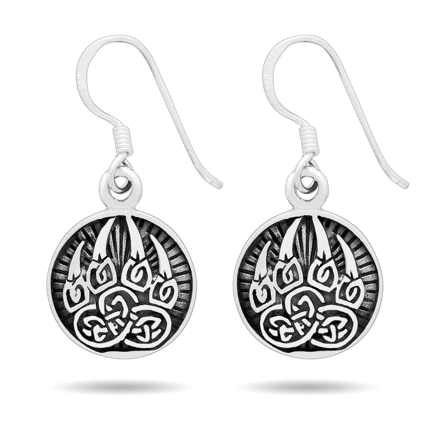 925 Sterling Silver Viking Bear Paw Earrings Set