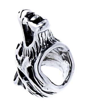 Sterling Silver Viking Wolf Head Beard Bead