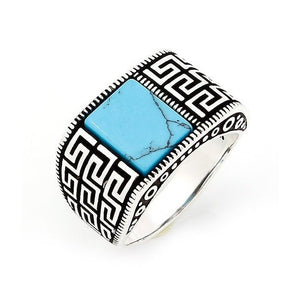 925 Sterling Silver Mens Turquoise Greek Key Meander Ring - SilverMania925