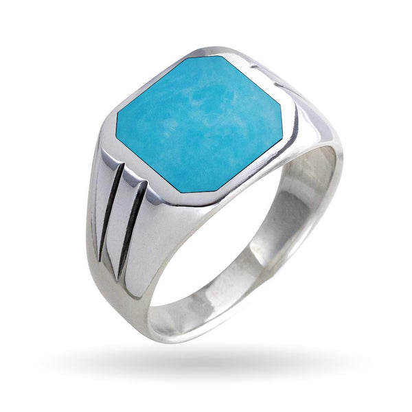 925 Sterling Silver Turquoise Classic Solid Band Ring