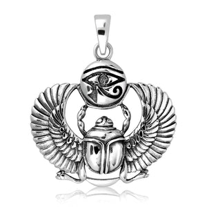 925 Sterling Silver Egyptian Eye of Horus Udjat Ancient Scarab Beetle Pendant