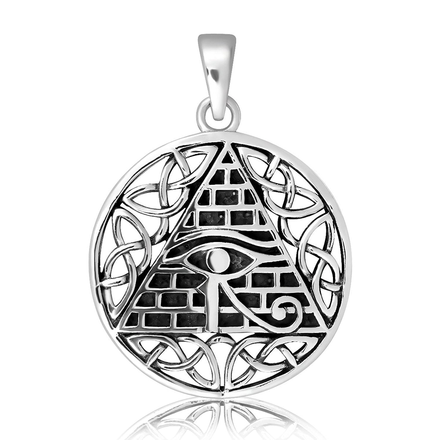925 Sterling Silver All-Seeing Egyptian Eye of Horus Illuminati Celtic Knot Charm Pendant