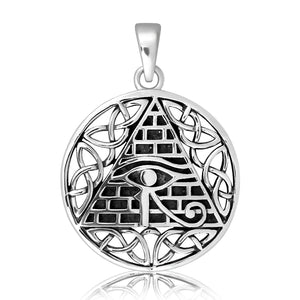 925 Sterling Silver All-Seeing Egyptian Eye of Horus Illuminati Celtic Knot Charm Pendant - SilverMania925