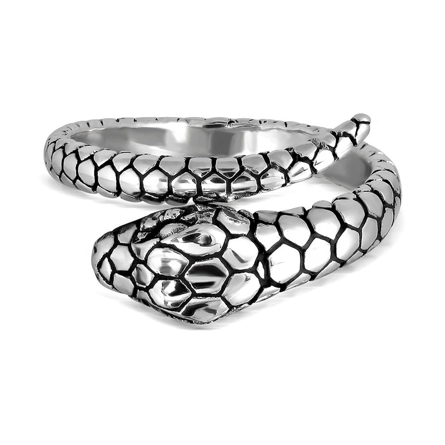 925 Sterling Silver Ouroboros Serpent Snake Reptile Infinity Hoop Ring - SilverMania925