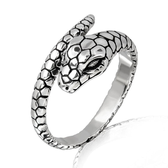 925 Sterling Silver Ouroboros Serpent Snake Reptile Infinity Hoop Ring