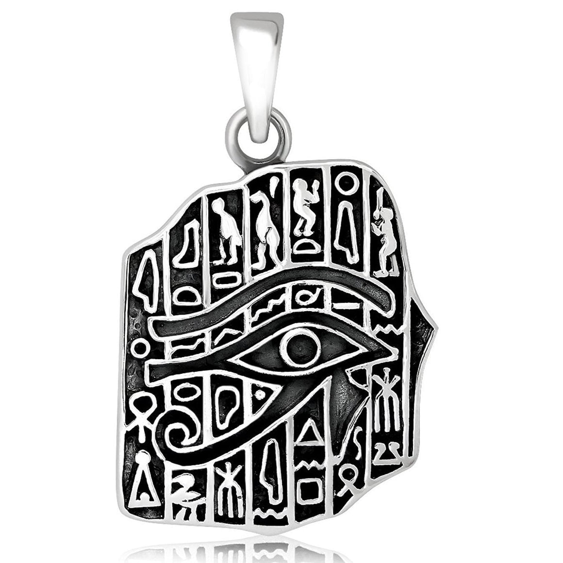 925 Sterling Silver Egyptian Hieroglyphs Eye of Horus Cartouche Pendant - SilverMania925