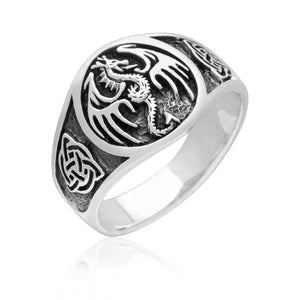 925 Sterling Silver Viking Jormungand Game of Thrones Celtic Ring - SilverMania925