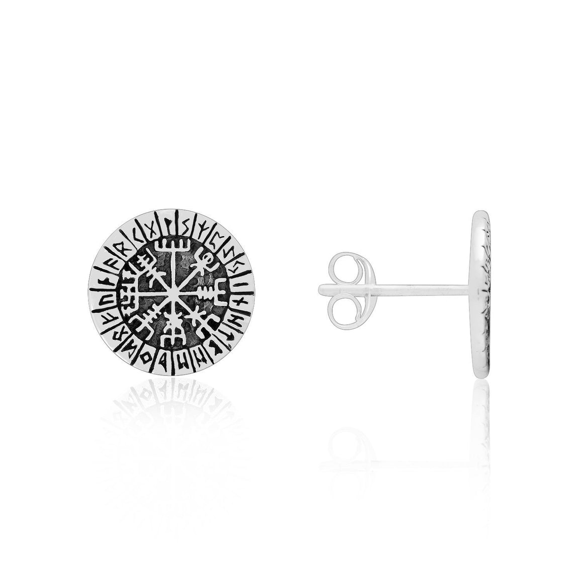 925 Sterling Silver Viking Vegvisir Compass with Norse Runes Stud Earrings Set