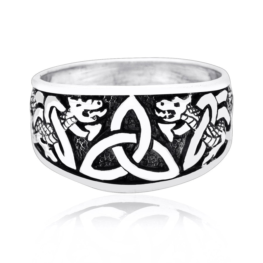 925 Sterling Silver Triquetra Band Ring with Jormungand - SilverMania925