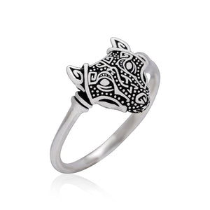 925 Sterling Silver Viking Wolf Head Ring