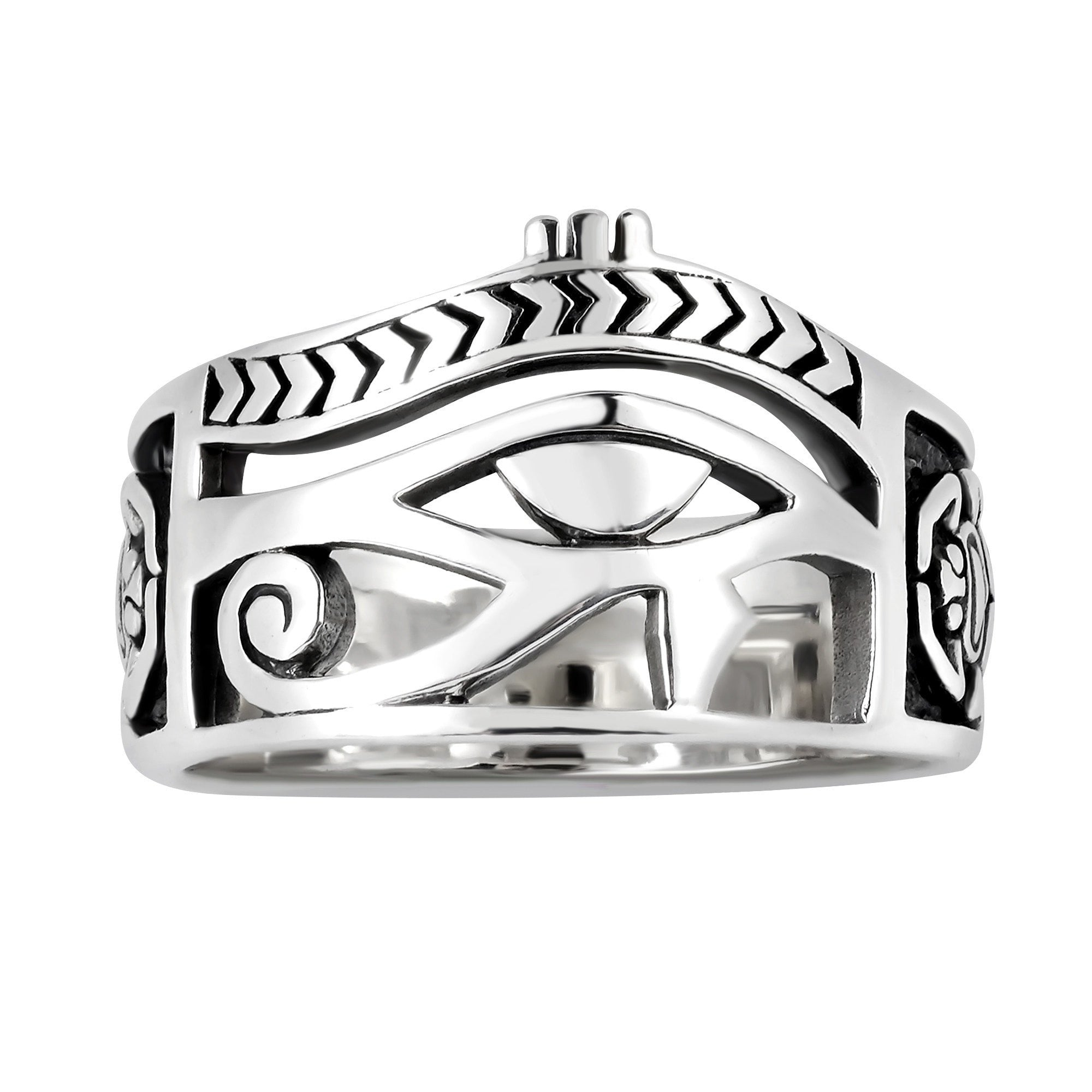 925 Sterling Silver Egyptian Eye of Horus Udjat Egypt Ankh Scarab Band Ring