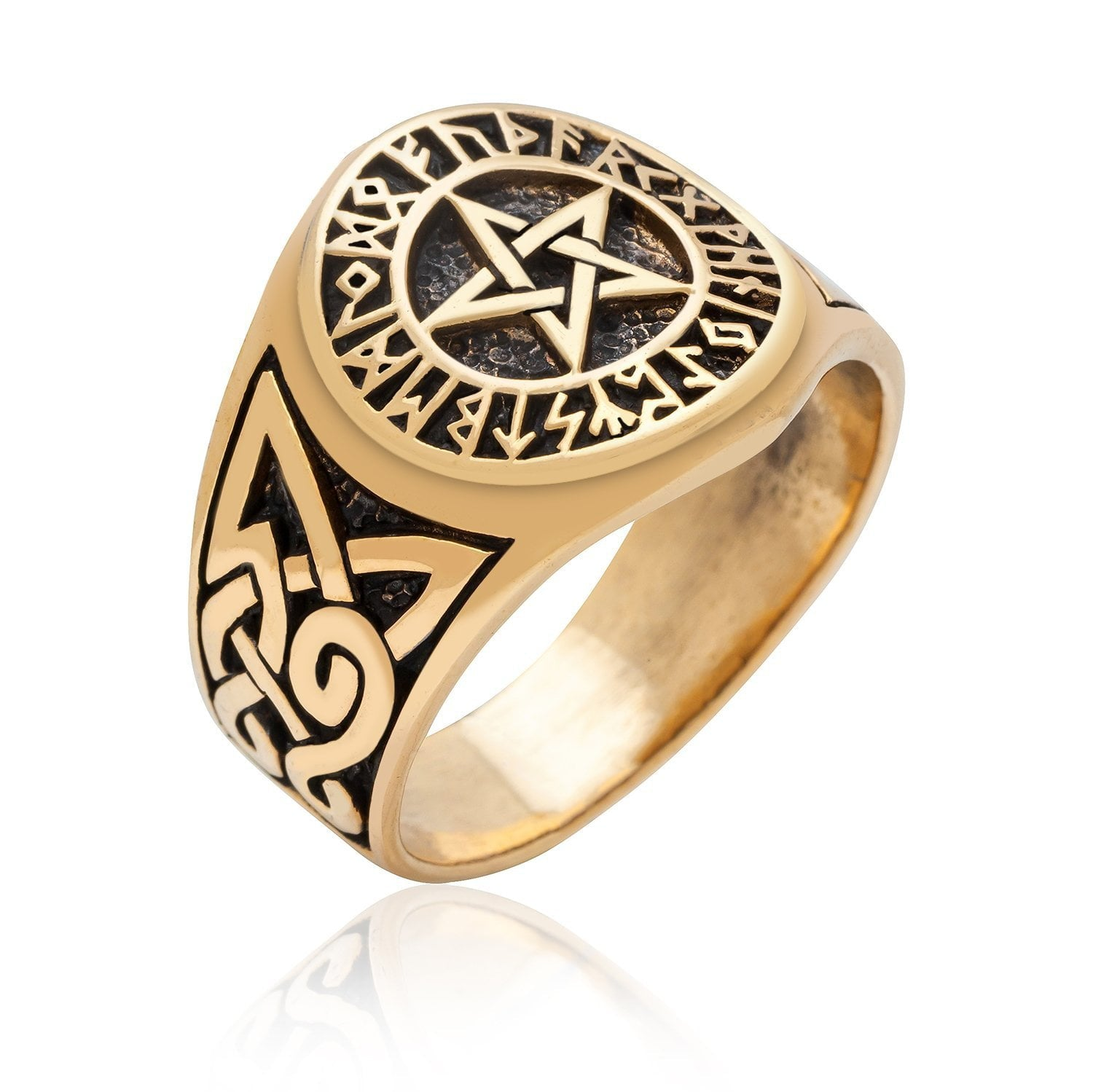 Pentagram Bronze Ring with Knotwork and Viking Runes