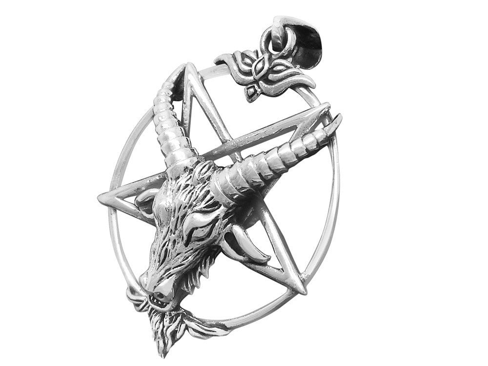 Sterling Silver Sigil of Baphomet Inverted Pentagram Horned Sabbatic Goat of Mendes Satanic Pendant