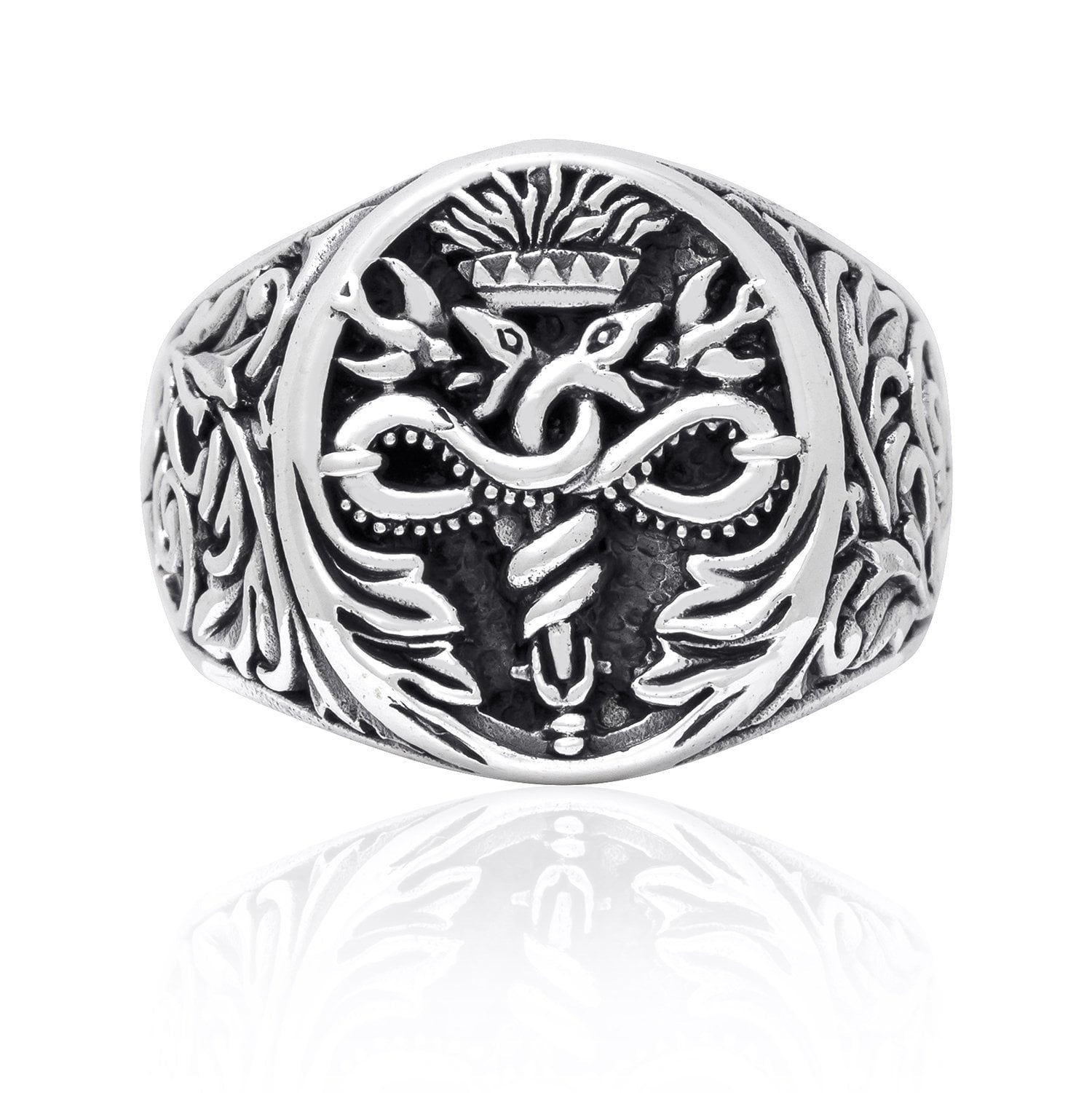 925 Sterling Silver Caduceus Medical Symbol Snake Signet Ring
