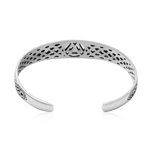 925 Sterling Silver Viking Valknut Shieldmaiden Bangle