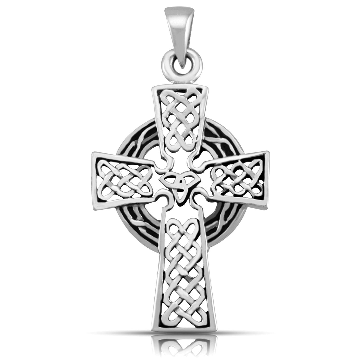 925 Sterling Silver Celtic Cross Knots Knotwork Filigree Big Charm Pendant