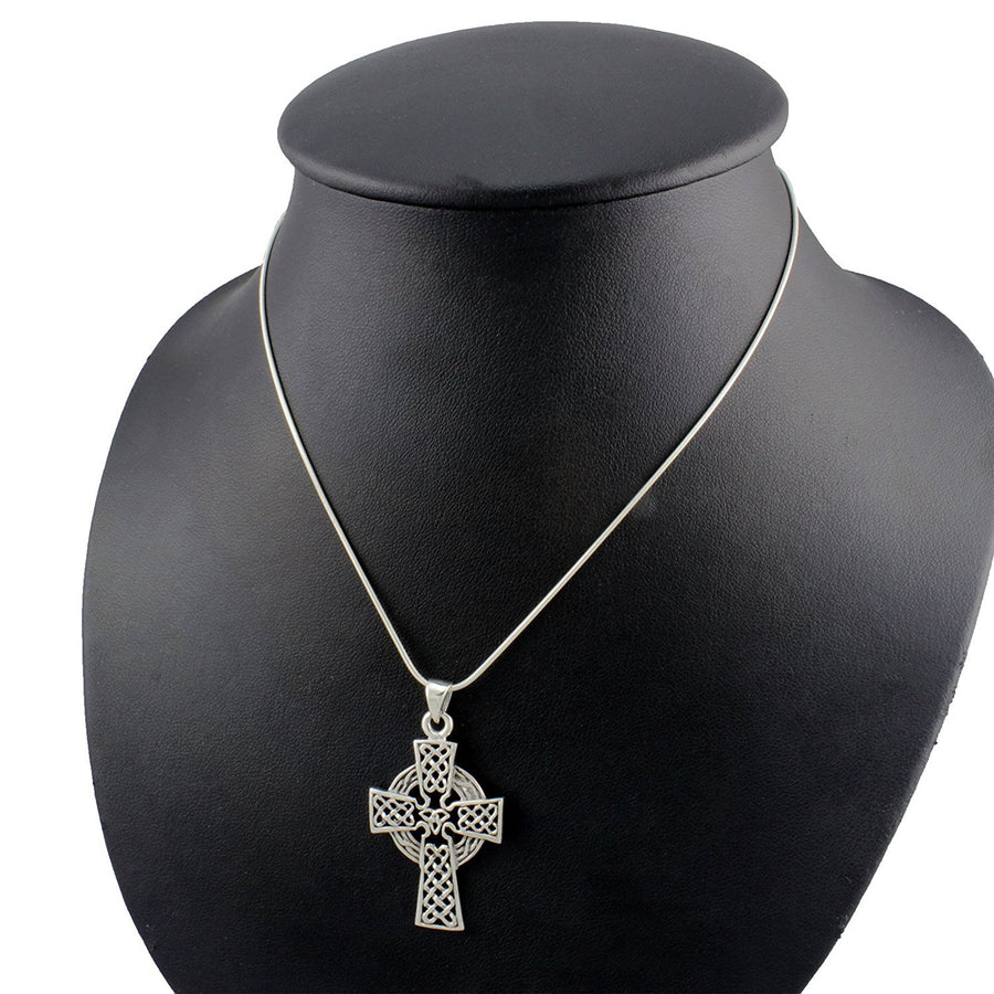 925 Sterling Silver Celtic Cross Knots Knotwork Filigree Big Charm Pendant - SilverMania925