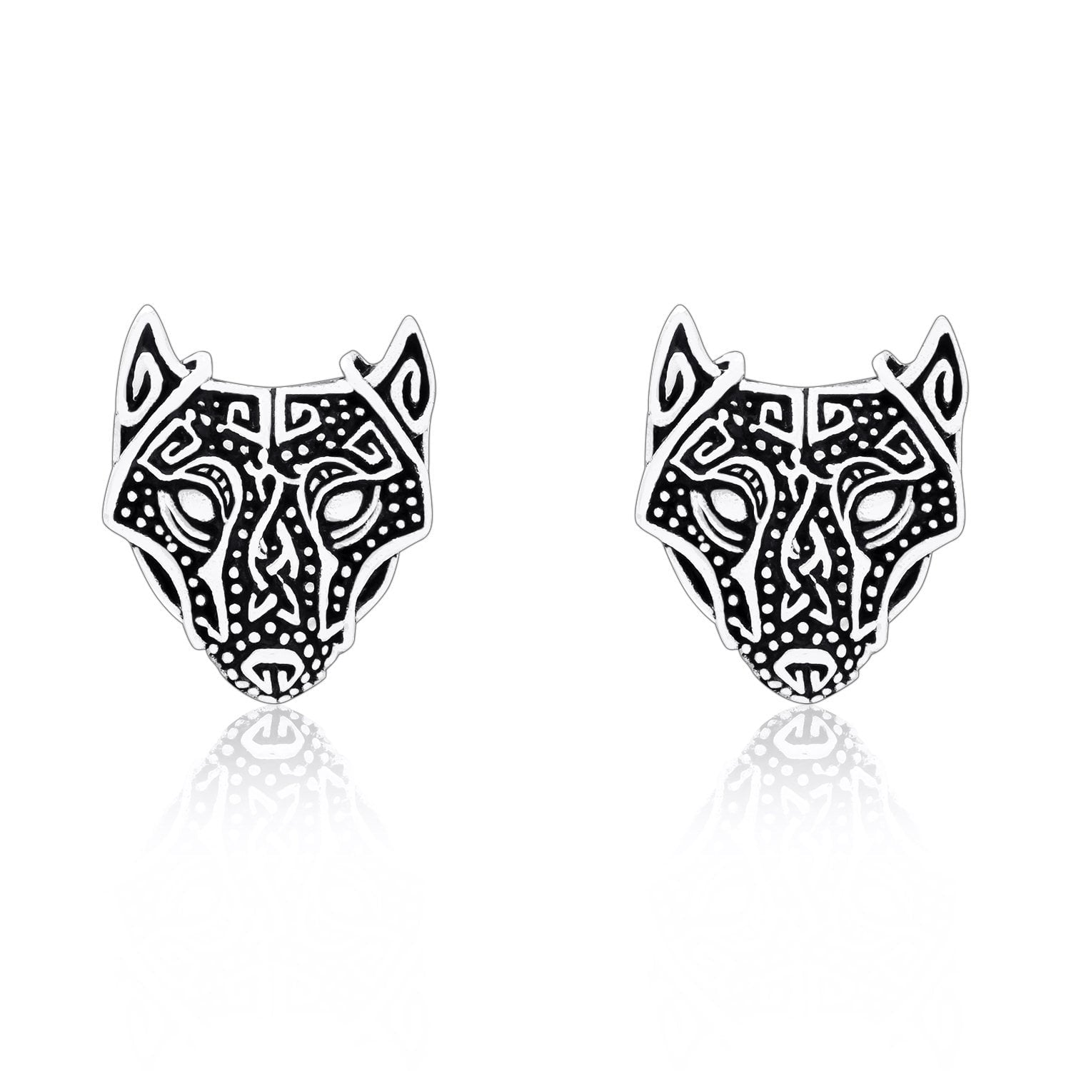 925 Sterling Silver Viking Wolf Head Stud Earrings Set