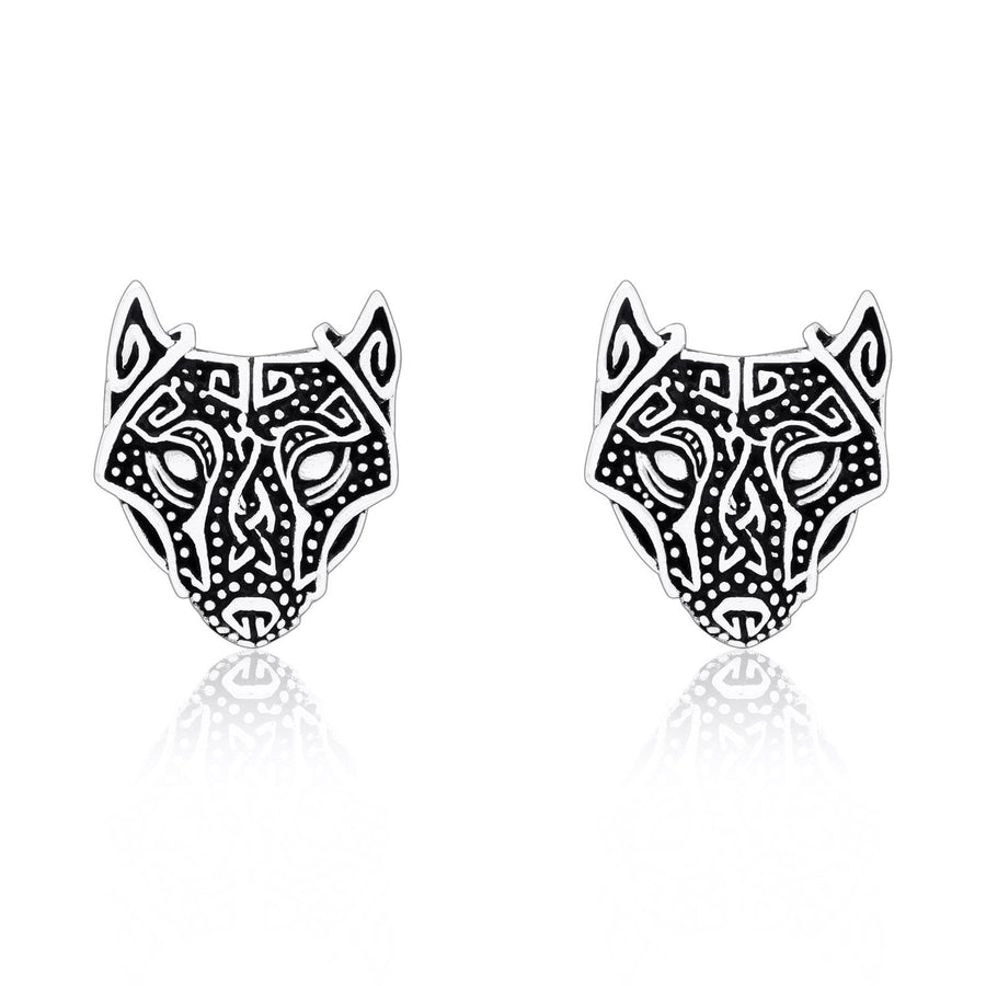 925 Sterling Silver Viking Wolf Fenrir Head Norse Stud Earrings Set