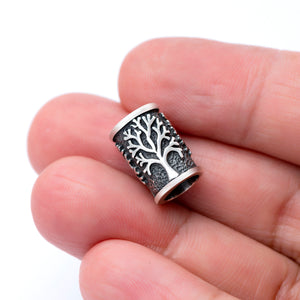 925 Sterling Silver Beard Bead with Viking Yggdrasil - SilverMania925
