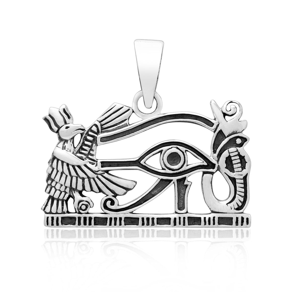 925 Sterling Silver Egyptian Eye of God Horus Protection Pendant - SilverMania925