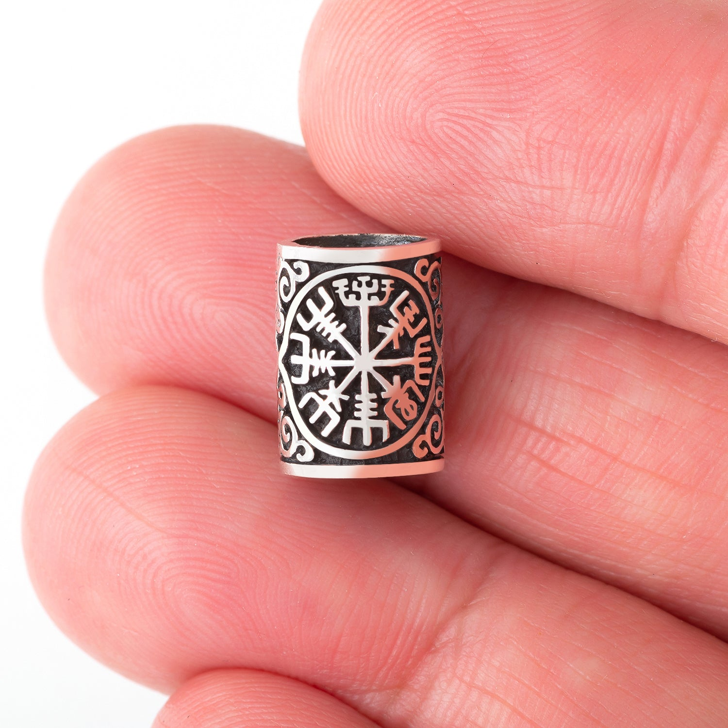 925 Sterling Silver Viking Beard Hair Bead with Vegvisir