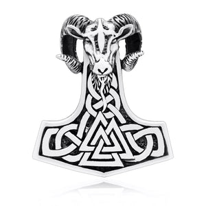 925 Sterling Silver Viking Mjolnir Ram Amulet with Valknut