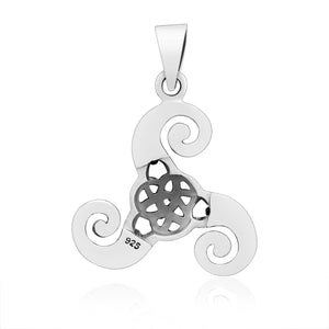 925 Sterling Silver Triskelion Pendant with Celtic Knotwork