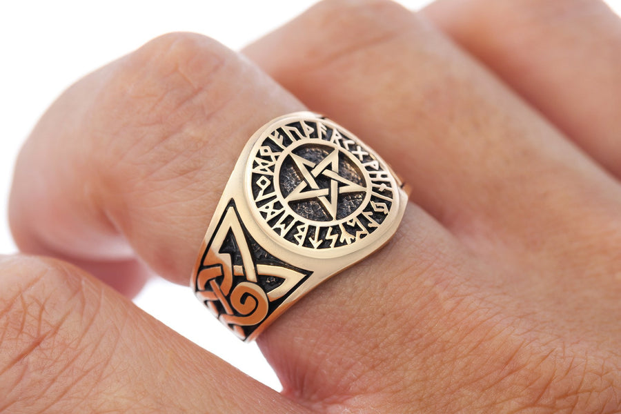 Bronze Pentagram Viking Norse Runes Celtic Knot Wiccan Pagan Handcrafted Ring