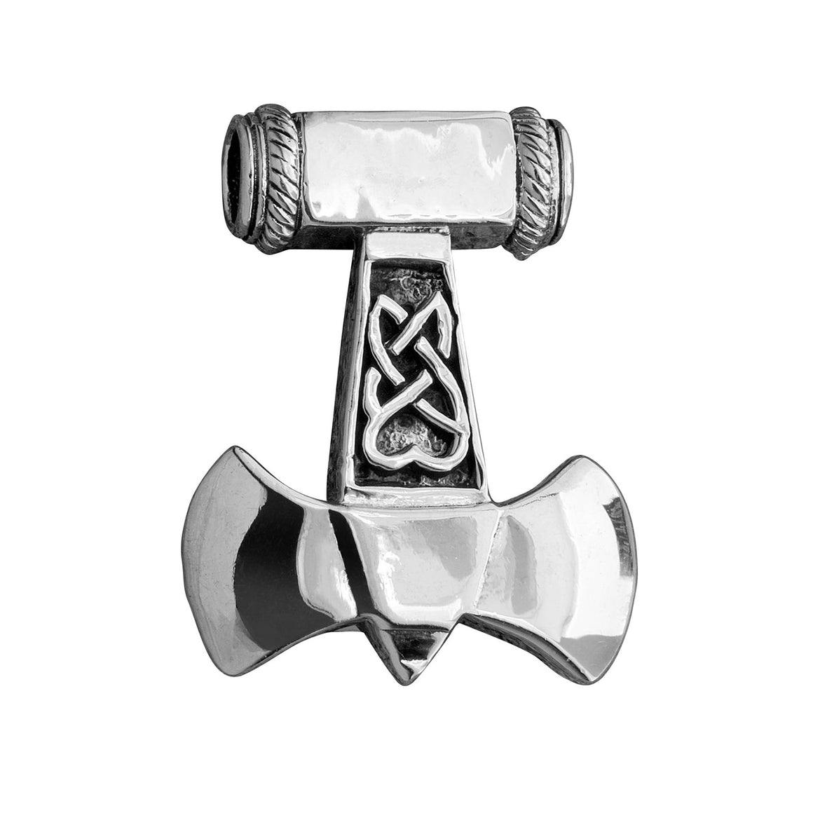 925 Sterling Silver Thor Hammer Mjolnir Viking Axe Knotwork Amulet Pendant - SilverMania925