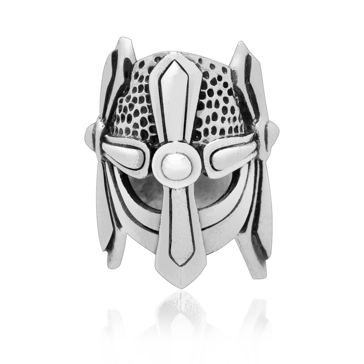 925 Sterling Silver Viking Helmet Warrior Beard Hair Bead Dreadlocks