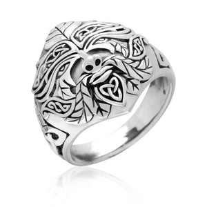 925 Sterling Silver Green Man Celtic Pagan Ring