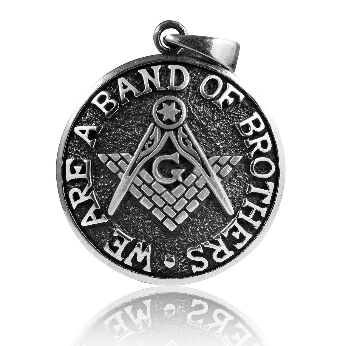 925 Sterling Silver Masonic Freemason Compass We Are a Band of Brothers Coin Pendant - SilverMania925