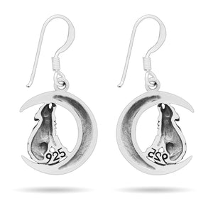925 Sterling Silver Viking Wolf on Crescent Moon Earrings Set