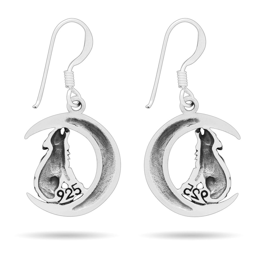 925 Sterling Silver Viking Wolf Fenrir on Crescent Moon with Knotwork Earrings Set
