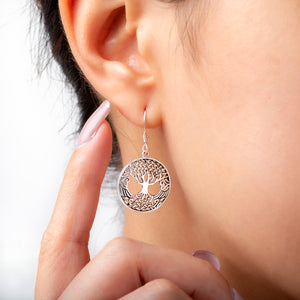925 Sterling Silver Tree of Life Earrings Set