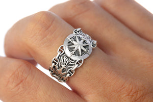925 Sterling Silver Nautical Compass Ring with Chains and Anchor