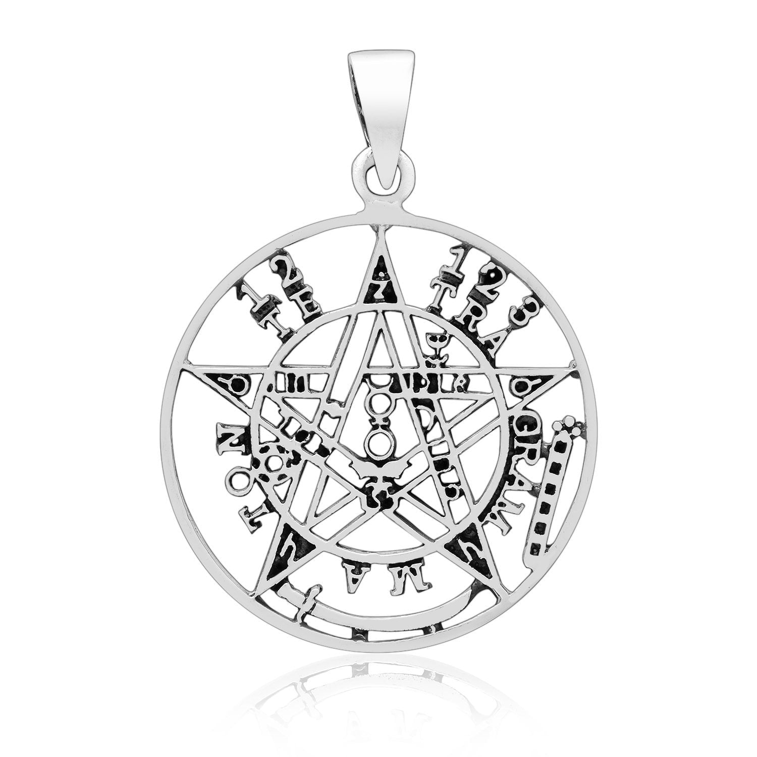 925 Sterling Silver Tetragrammaton Seal of Solomon Cutout Pendant