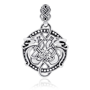 925 Sterling Silver Viking Hound Wolf Fenrir Norse Knotwork Amulet Pendant