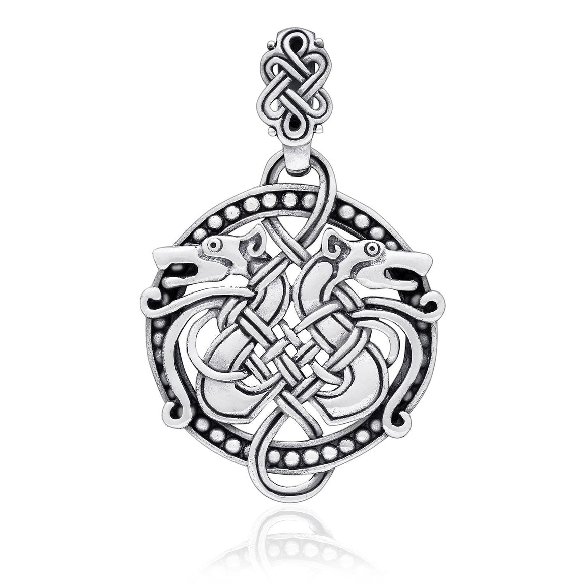 925 Sterling Silver Viking Hound Wolf Fenrir Norse Knotwork Amulet Pendant - SilverMania925