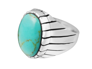 925 Sterling Silver Mens Oval Genuine Turquoise Stone Engraved Sides Solid Ring - SilverMania925